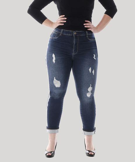Calca-Cropped-Jeans-Feminina-com-Faixa-Animal-Print-Plus-Size--Azul-Escuro-9582666-Azul_Escuro_1