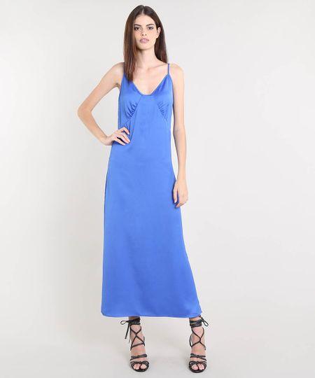d82b5d8869 Vestido Slip Dress Mindset Longo Acetinado Azul Royal