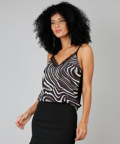 Regata-Feminina-Estampada-Animal-Print-com-Renda-Preta-9509056-Preto_1