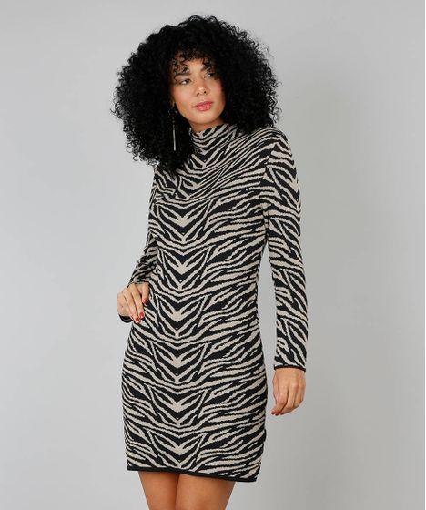 e45c709d6a Vestido Feminino em Jacquard Estampado Animal Print Gola Alta Kaki - cea