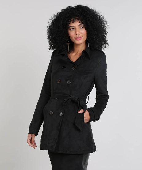 Casaco-Trench-Coat-Feminino-Com-Bolsos---Cinto-Preto-9364049-Preto_1