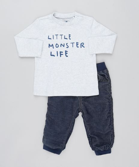 Conjunto-Infantil-de-Blusa-em-Moletom---Calca-Jeans-Cinza-9443403-Cinza_1