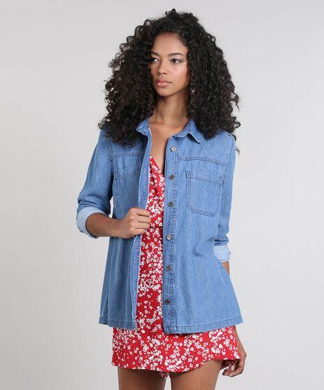 Jaqueta-Jeans-Feminina-com-Bolsos-Azul-Medio-9537695-Azul_Medio_1