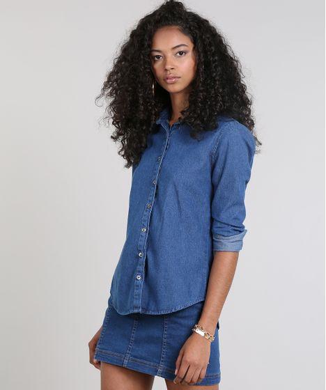 8d21e2304a389 Camisa Jeans Feminina Básica Manga Longa Azul Escuro - cea