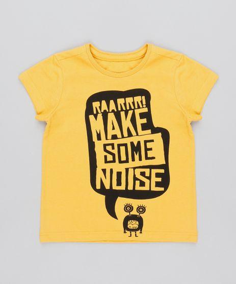 Camiseta-Infantil--Make-some-noise--Manga-Curta-Amarela-9501793-Amarelo_1