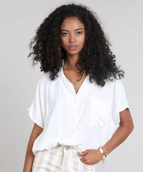 Camisa-Feminina-Ampla-com-Bolso-Manga-Curta-Off-White-9492859-Off_White_1