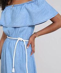 c7e5d4fec1 ... Vestido-Jeans-Feminino-Ombro-a-Ombro-com-Babado-. Vestido Jeans  Feminino Ombro a Ombro com Babado e Cinto Azul Claro
