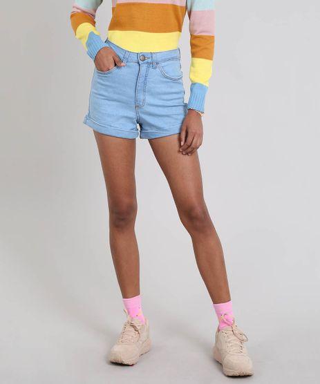 Short-Jeans-Feminino-Hot-Pants-Barra-Dobrada-Azul-Claro-9557200-Azul_Claro_1