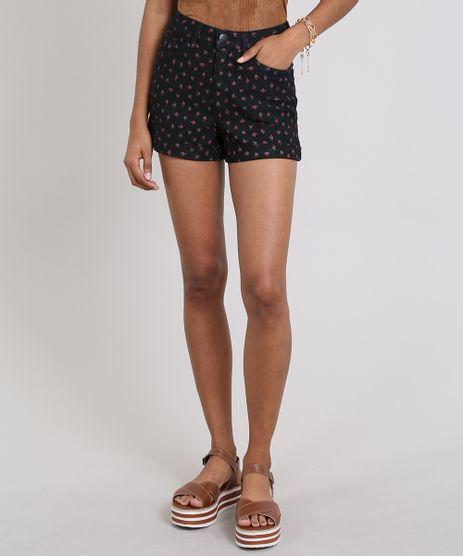 Short-Feminino-Hot-Pants-Em-Sarja-com-Estampa-Floral-Preto-9557199-Preto_1