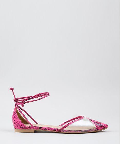 a1bcc9db1f Sapatilha Feminina Estampada Animal Print Bico Fino Rosa Neon - cea