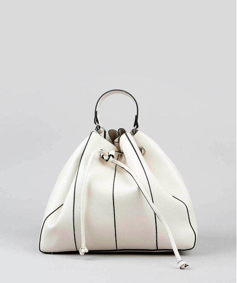 618f706db Bolsa Bucket Feminina Grande Com Alça Transversal Off White - cea