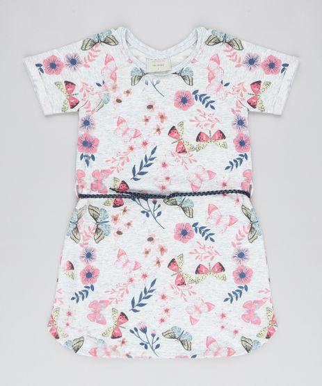 Vestido-Infantil-em-Moletom-Estampado-Floral-com-Cinto-Manga-Curta-Cinza-Mescla-9537308-Cinza_Mescla_1