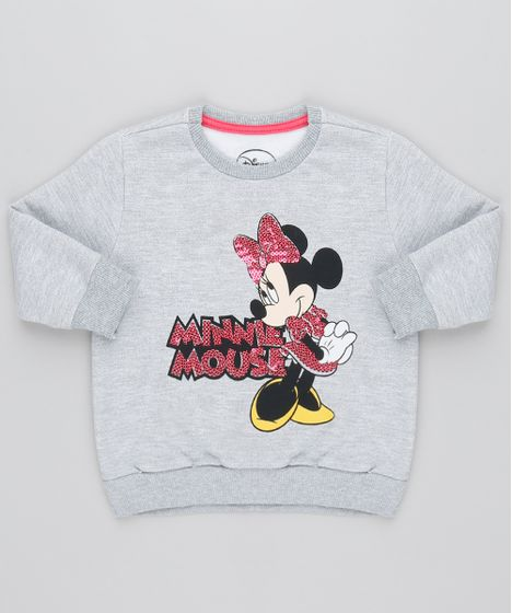 ff4f010a6 Blusão Infantil Minnie com Paetê em Moletom Manga Longa Cinza Mescla ...