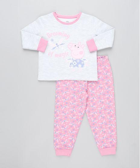 Pijama-de-Inverno-Infantil-Peppa-Pig-em-Moletom-Manga-Longa-Cinza-Mescla-9476367-Cinza_Mescla_1