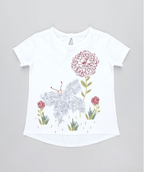 9f32a3bb42 Blusa Infantil Borboleta Texturizada Manga Curta Off White - cea