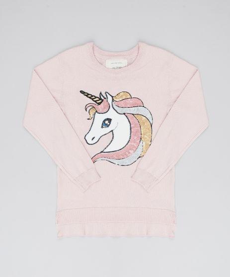 Sueter-Infantil-em-Trico-Unicornio-com-Paetes-Rosa-Claro-9434402-Rosa_Claro_1