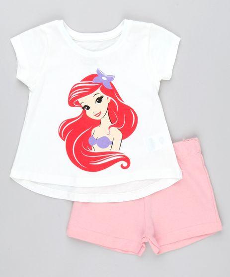 Conjunto-Infantil-Ariel-A-Pequena-Sereia-Manga-Curta-Off-White---Short-em-moletom-Rosa-Claro-9541028-Rosa_Claro_1