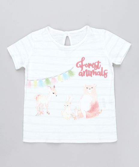 Blusa-Infantil-com-Bordado--Forest-Animals--Manga-Curta-Off-White-9471148-Off_White_1