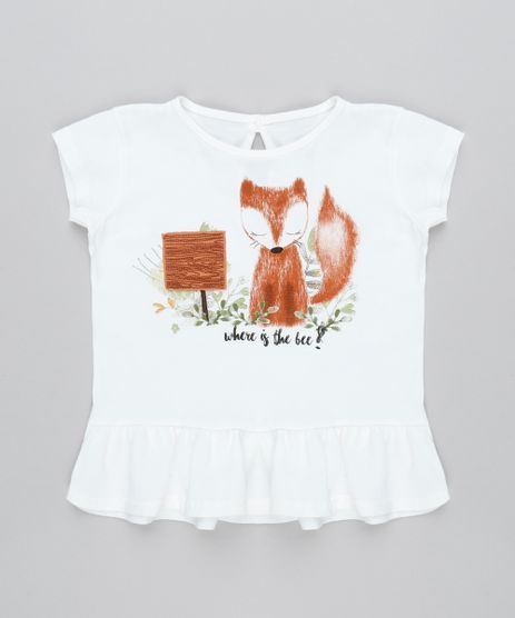 Blusa-Infantil--Where-is-the-bee---Raposinha-Manga-Curta-Off-White-9471147-Off_White_1