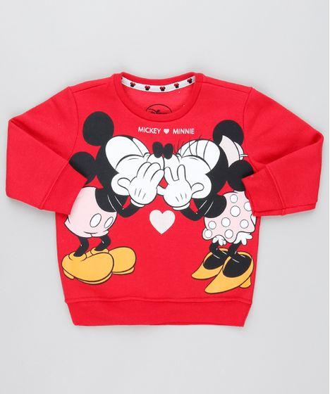 febba46a6 Blusão Infantil Mickey e Minnie em Moletom Manga Longa Vermelho - cea