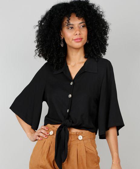 Camisa-Feminina-Cropped-com-Amarracao-Manga-Curta-Preta-9549684-Preto_1