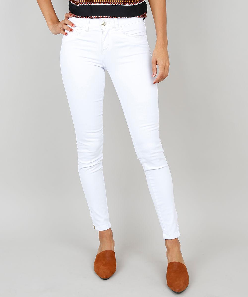 75bbbe40e Calça de Sarja Feminina Super Skinny Cintura Alta Branca ...