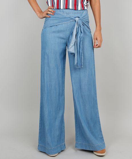 Calca-Jeans-Feminina-Pantalona-Com-Amarracao-Frontal-Azul-Claro-9539291-Azul_Claro_1