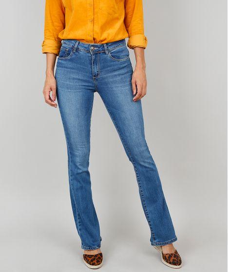 c6a743e80 Calça Jeans Feminina Boot Cut Cintura Média Azul - cea
