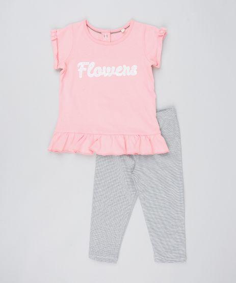 Conjunto-Infantil-De-Blusa--Flowers--Manga-Curta-Rosa---Calca-Legging-Listrada-Rosa-9205065-Rosa_1
