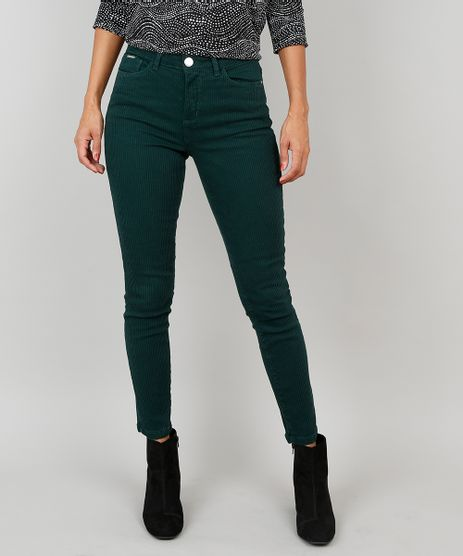 Calca-em-Sarja-Feminina-Skinny-Canelada--Verde-9546924-Verde_1