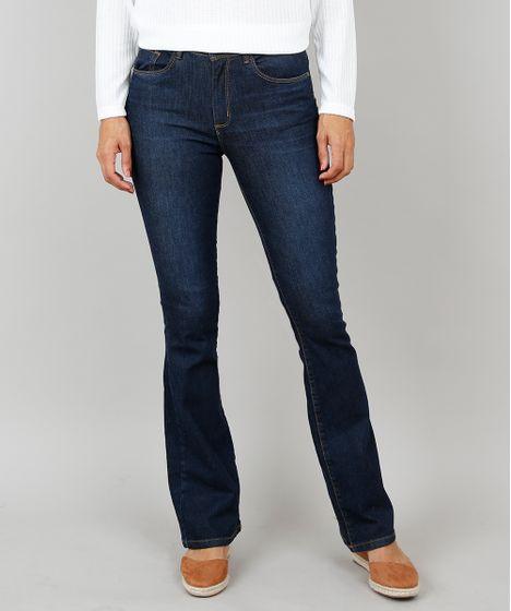 d145cae6e Calça Jeans Feminina Boot Cut Cintura Média Azul Escuro - cea
