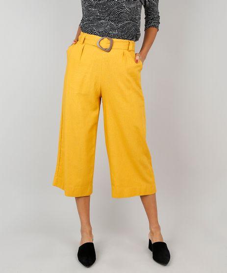 Calca-Feminina-Pantacourt-com-Faixa-para-Amarrar-Amarelo-Escuro-9521122-Amarelo_Escuro_1
