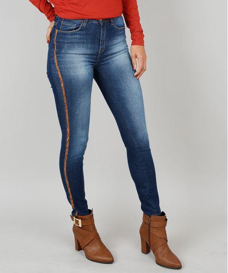 a1d9f1780 Calça Jeans Feminina Skinny Animal Print Azul Escuro - cea