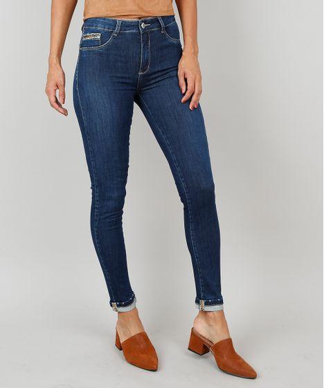e37a98287 Calça Jeans Feminina Cigarrete Com Barra Dobrada Azul Escuro - cea