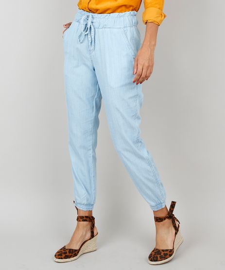 Calca-Jeans-Feminina-Clochard-Jogger-Com-Amarracao-Azul-Claro-9560825-Azul_Claro_1