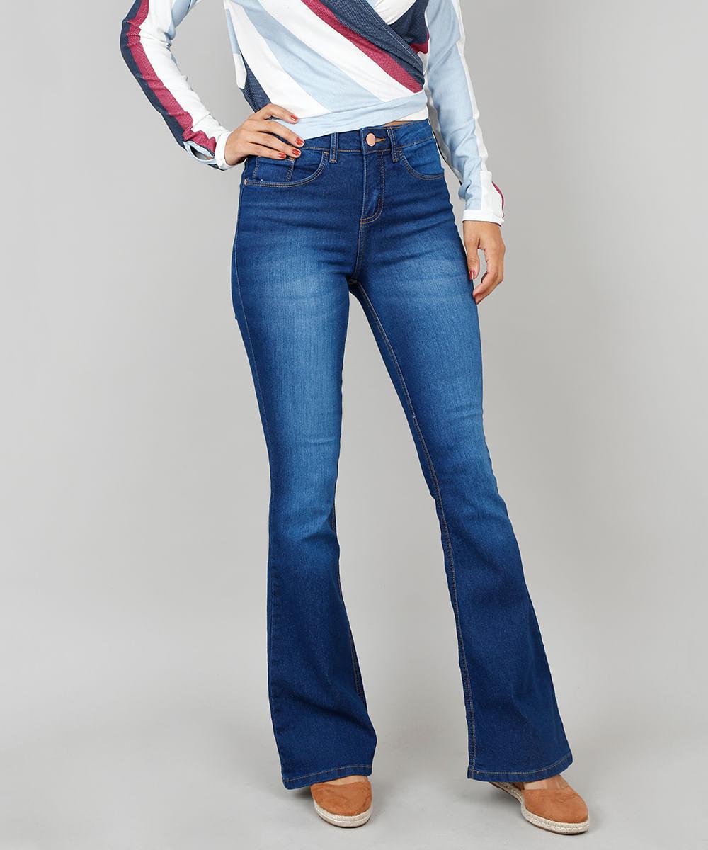 68292fd50 Calça Jeans Feminina Flare Cintura Alta Azul Escuro - cea