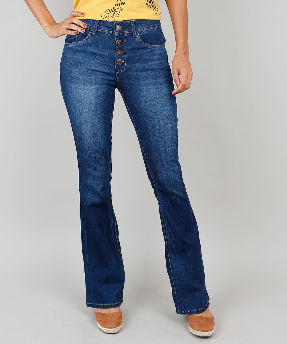 75563722b Calça Jeans Feminina Boot Cut Com Botões Azul Escuro - cea