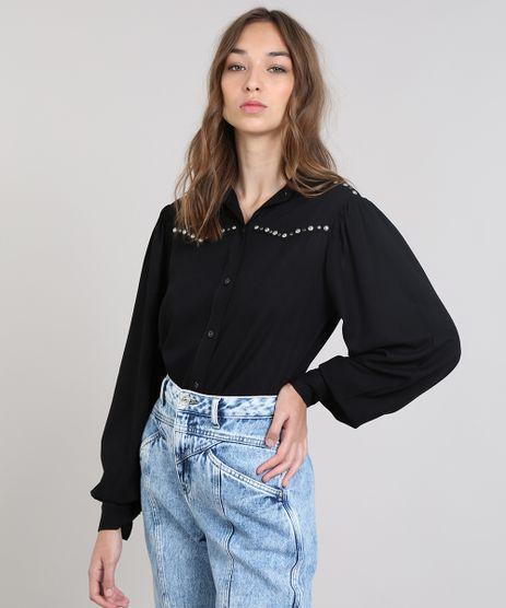 Camisa-Feminina-Mindset-Ampla-com-Tachas-Manga-Longa-Preto-9563348-Preto_1