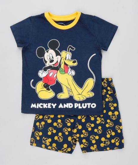 Pijama-Infantil-Mickey-Mouse-Manga-Curta-Azul-Marinho-9528121-Azul_Marinho_1