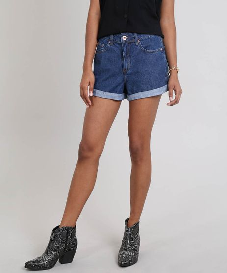 Short-Jeans-Feminino-Mom-Barra-Dobrada-Azul-Escuro-9559786-Azul_Escuro_1