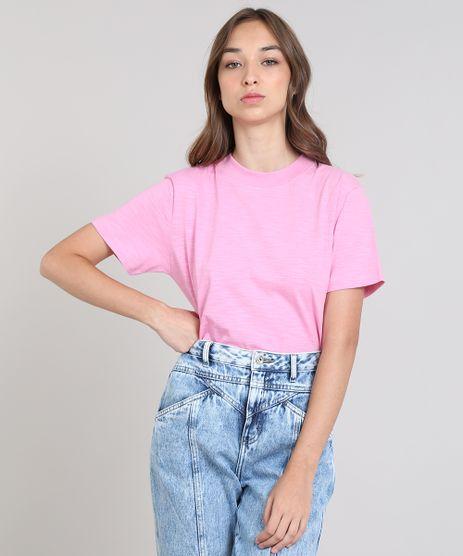 b0c72c6455 T-shirt-Feminina-Mindset-Gola-Larga-Manga-Curta-