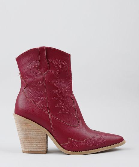 Bota-Feminina-Country-com-Pespontos-Bico-Fino-Vermelha-9544001-Vermelho_1