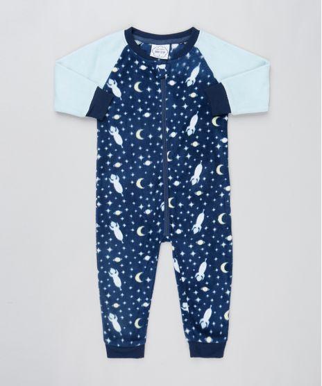 Macacao-Infantil-em-Plush-Estampado-de-Estrelas-Manga-Longa-Azul-Escuro-9364377-Azul_Escuro_1