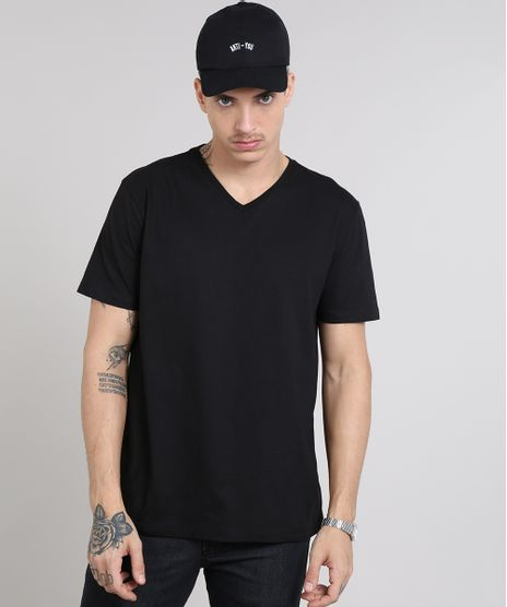 Camiseta-Masculina-Basica-Manga-Curta-Gola-V-Preta-8472842-Preto_1