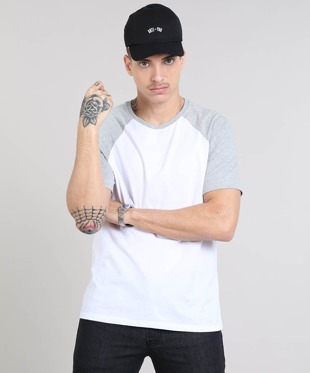 7bc71f80f Camiseta Masculina Raglan Básica Manga Curta Decote Careca Branca - cea