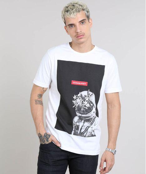 a09a3b038c Camiseta Masculina Astronauta Manga Curta Gola Careca Branca - cea