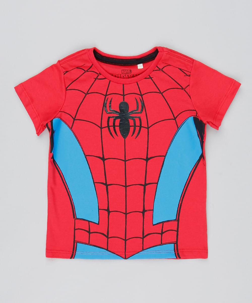 954c10b5f ... Camiseta-Infantil-Homem-Aranha-Manga-Curta-Vermelha-9528120-