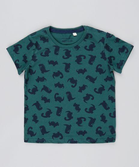 Camiseta-Infantil-Estampada-de-Dinossauros-Manga-Curta-Verde-Escuro-9529941-Verde_Escuro_1