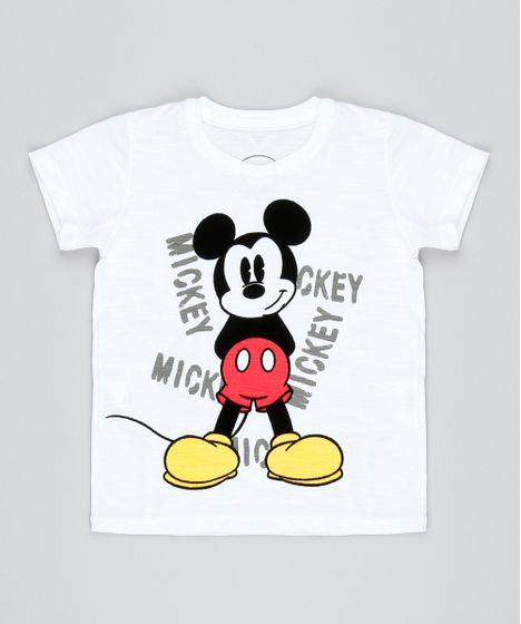 bab72a0308 Camiseta-Infantil-Mickey-Flocada-Manga-Curta-Branca-9503522- ...
