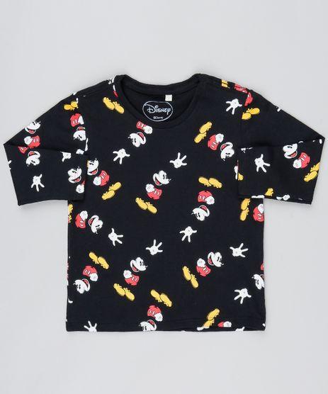 4f611c7f2 Camiseta-Infantil-Mickey-Manga-Longa-Preta-9525155-Preto 1